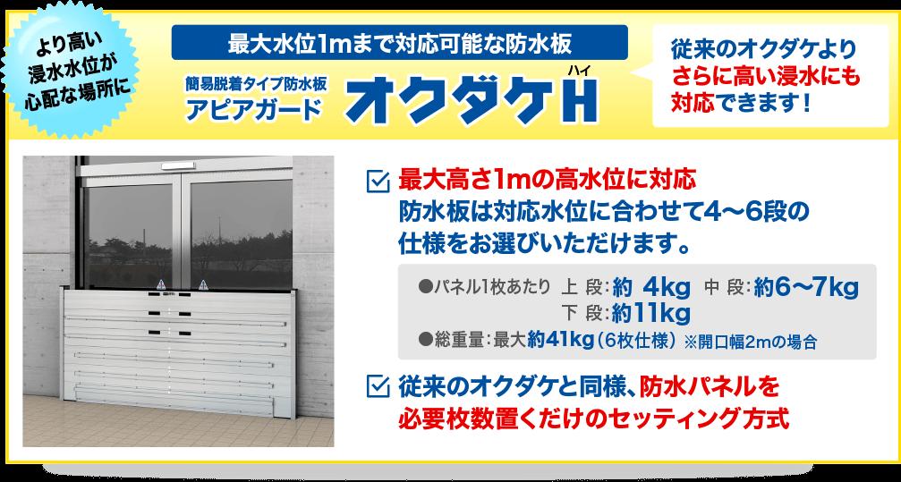 最大水位1mまで対応可能な防水板。従来のオクダケよりさらに高い浸水にも対応できます!簡易脱着タイプ防水板(止水板)アピアガード「オクダケH」
